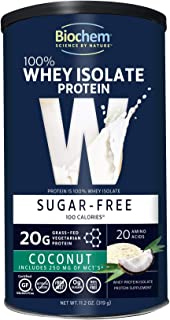 Biochem 100% Whey Isolate Protein - 11.2 oz - Sugar Free Coconut - 20g Vegetarian Protein - Keto-Friendly - Amino Acids - ...