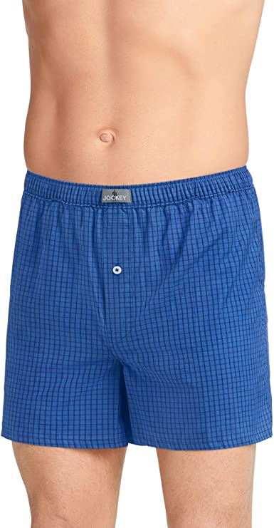 Jockey Men/'s USA Originals Loose Fit Poly-Cotton Woven Boxers Shorts Button Fly