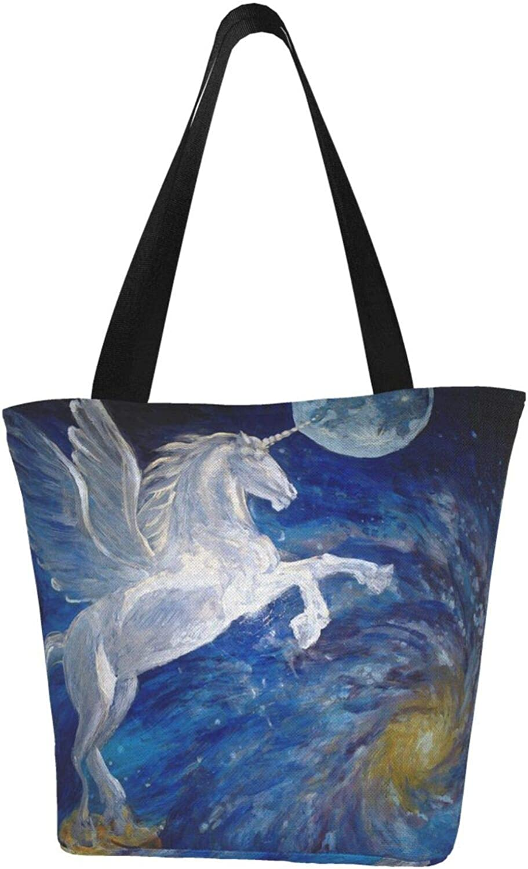 White Winged Horse Unicorn Art Moon Themed Printed Women Canvas Handbag Zipper Shoulder Bag Work Booksbag Tote Purse Leisure Hobo Bag For Shopping