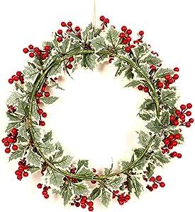 Phrat Guirlandes Fleurs Fruit Blanc Feuille Blanche Couronne de Noël Idéal Déco Noël pour Magasins Bureaux,Sapin De Noël Ou DIY Diamètre 40cm