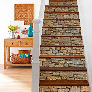 zhiyu&art decor 3D Stair Decals Stickers-Staircase Decal Tile Stair Risers Decals Vinyl Removable Peel and Stick Stair Decal Wall Stickers for Stairs (Brick Stone-13Pcs/Set)