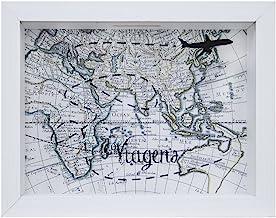 Quadro Cofre De Mesa Mapa Branco 15x20x4cm Kapos Branca 15x20x4