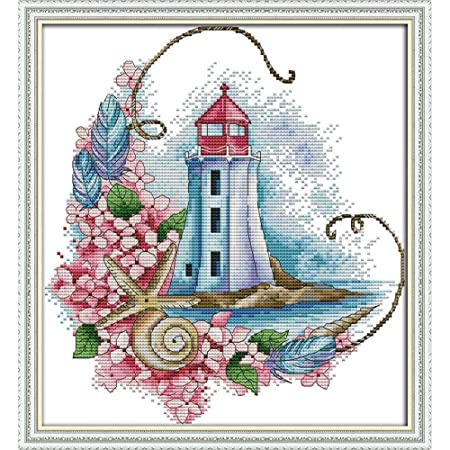 YEESAM ART Cross Stitch Kits Stamped for Adults Beginner Kids Lighthouse Four Seasons Seaside Autumn 11CT 20/×20cm DIY Embroidery Needlework Kit with Easy Funny Preprinted Patterns Needlepoint