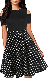 Women's Chic Off Shoulder Floral Flare Patchwork Party Cocktail Casual Pockets Swing Dress OX266
