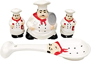 New Tuscany Plump Bistro Chef Ceramic 4pc Set, Napkin Holder, Salt, Pepper and Spoon Rest set, 88925/28 by ACK