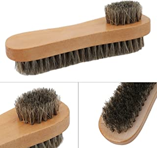 TraveT Natural Wooden Handle Double Sided Mane Shoes Boot Polish Buffing Brush Care Hair Brush Cleaner Brush