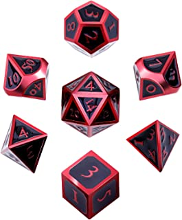 Hestya 7 Pieces Metal Dices Set DND Game Polyhedral Solid Metal D&D Dice Set with Storage Bag and Zinc Alloy with Enamel for Role Playing Game Dungeons and Dragons (Electrophoretic Red Edge Black)
