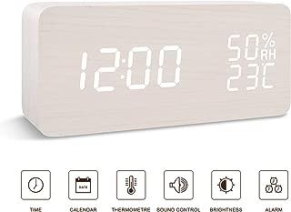 BlaCOG Alarm Clock Digital Desk Wooden Alarm Clock Upgraded with Time Temperature, Adjustable Brightness, 3 Set of Alarm and Voice Control - White
