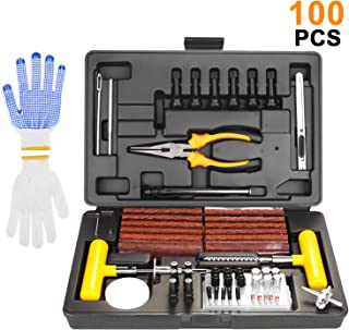 SHYOSUCCE 100pcs Kit de Reparación de Neumáticos con Manómetro, Guantes y 35pcs Accesorios para Neumático, Kit Repara Pinchazos con Autos, Bicicletas, Motos, Tractores, Camiones