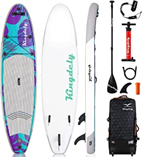 Kingdely Inflatable Stand Up Paddle Board, 6'' Thick, Comes with Durable SUP Accessories & Portable Carry Bag, Non-Slip De...