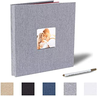 Self Adhesive Photo Album Magnetic Scrapbook Album 40 Magnetic Double Sided Pages Fabric Hardcover DIY Photo Album Length 11 x Width 10.6 (Inches) with A Metallic Pen (Grey)