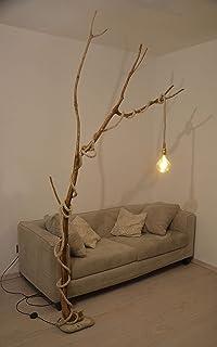Lámpara de pie rústica en madera diseño retro,lámpara de piso vintage natural con roble envejecido reciclado, cuerda marin...