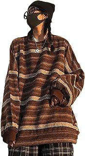 Jerséis y suéteres de rayas para mujer, de gran tamaño, de punto a rayas, para mujer, para otoño e invierno (color: caqui,...