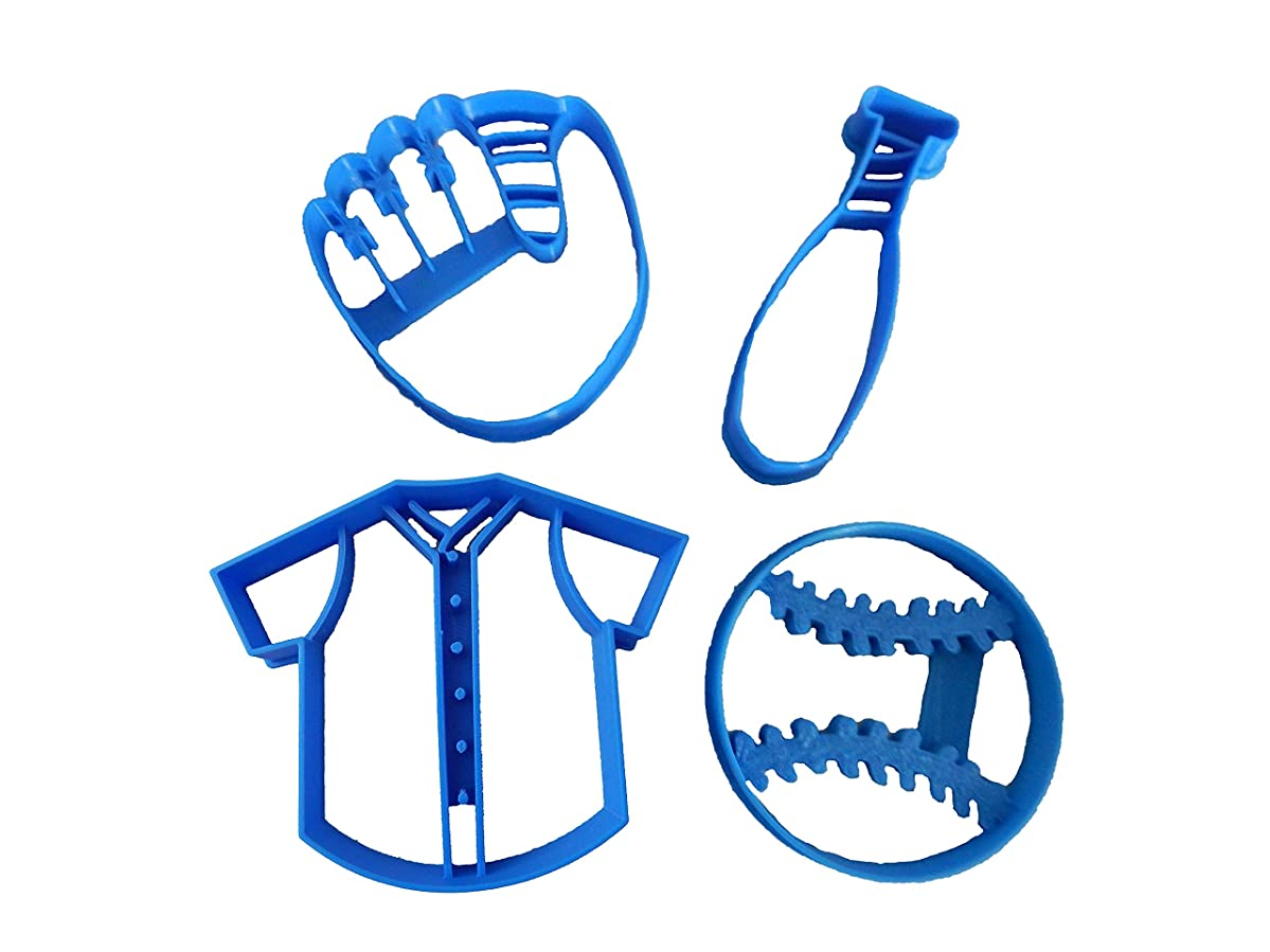 Baseball, Glove, Bat and Jersey Cookie Cutters (4 Pack)