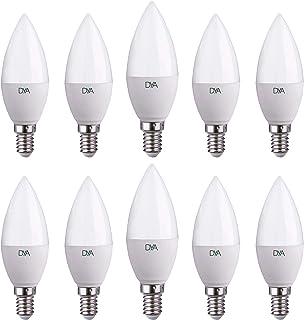 DYA - Juego de 10bombillas LED, tipo vela C37, casquillo E14, luz natural, 4000K