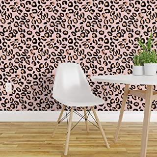 Spoonflower Peel and Stick Removable Wallpaper, Leopard Spots Animal Camouflage Cat Skin Leopard Pink and Rose Gold Print, Self-Adhesive Wallpaper 24in x 36in Roll
