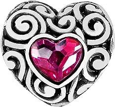 Brighton Swirly Love Heart Silver Pink Crystal Bead Charm