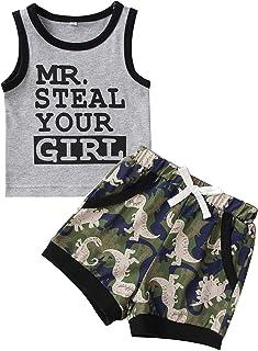 GRNSHTS Summer Baby Boy Clothes Letter Print Sleeveless Tops Vest+Dinosaur Pants Outfit Set