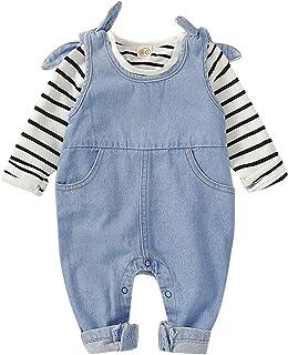 Divilon Infant Toddler Baby Long Sleeve Stripe T-Shirt Jeans Jumpsuit Denim Overalls Cowboy Overall Pants