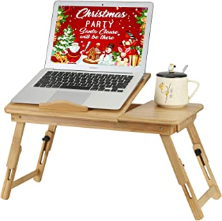 ETE ETMATE Bamboo Laptop Desk, Adjustable Breakfast Serving Bed Tray, Foldable Notebook Computer Holder, with Tilting Top ...