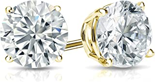 Lab Grown Diamond Stud Earrings in 14k Gold Round (1/4 to 1 1/4cttw, E-F, VS1-VS2) 4-Prong Basket, Screw-backs by Diamond Wish