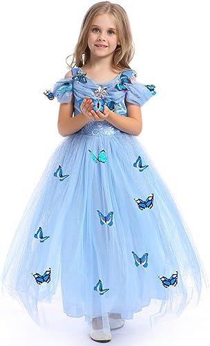 URAQT Robe de Princesse Cinderella Fille Robe Papillon Princess Robe Costume Cosplay de Cinderella Fête Anniversaire ...