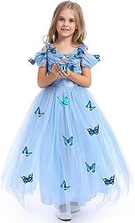 URAQT Robe de Princesse Cinderella Fille Robe Papillon Princess Robe Costume Cosplay de Cinderella Fête Anniversaire Hallo...