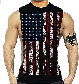 cheelot メンズジムアクティブウェアアメリカフラグAシャツシャツタンクトップ筋肉シャツ