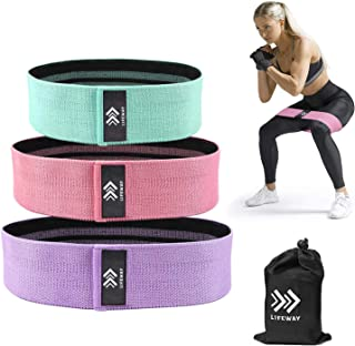 LIFEWAY Resistance Bands for Legs and Butt - Booty Bands Set, Non Slip Fabric Workout Bands Exercise Bands Glute Bands, Wi...