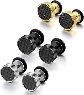 Cupimatch - Juego de 3 pares de pendientes de acero inoxidable de imitación de dilataciones para