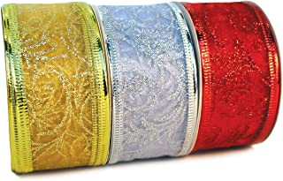 1.5 Ribbon Set of 3 Ribbon Wired Red, Gold, Silver/White Wire Sheer Organza Glitter Xmas Gift Wrapping, Christmas Tree Ribbons Decoration, Holiday Craft, Gifts Wrap 30 Yards / 10 Yard Ea. Roll