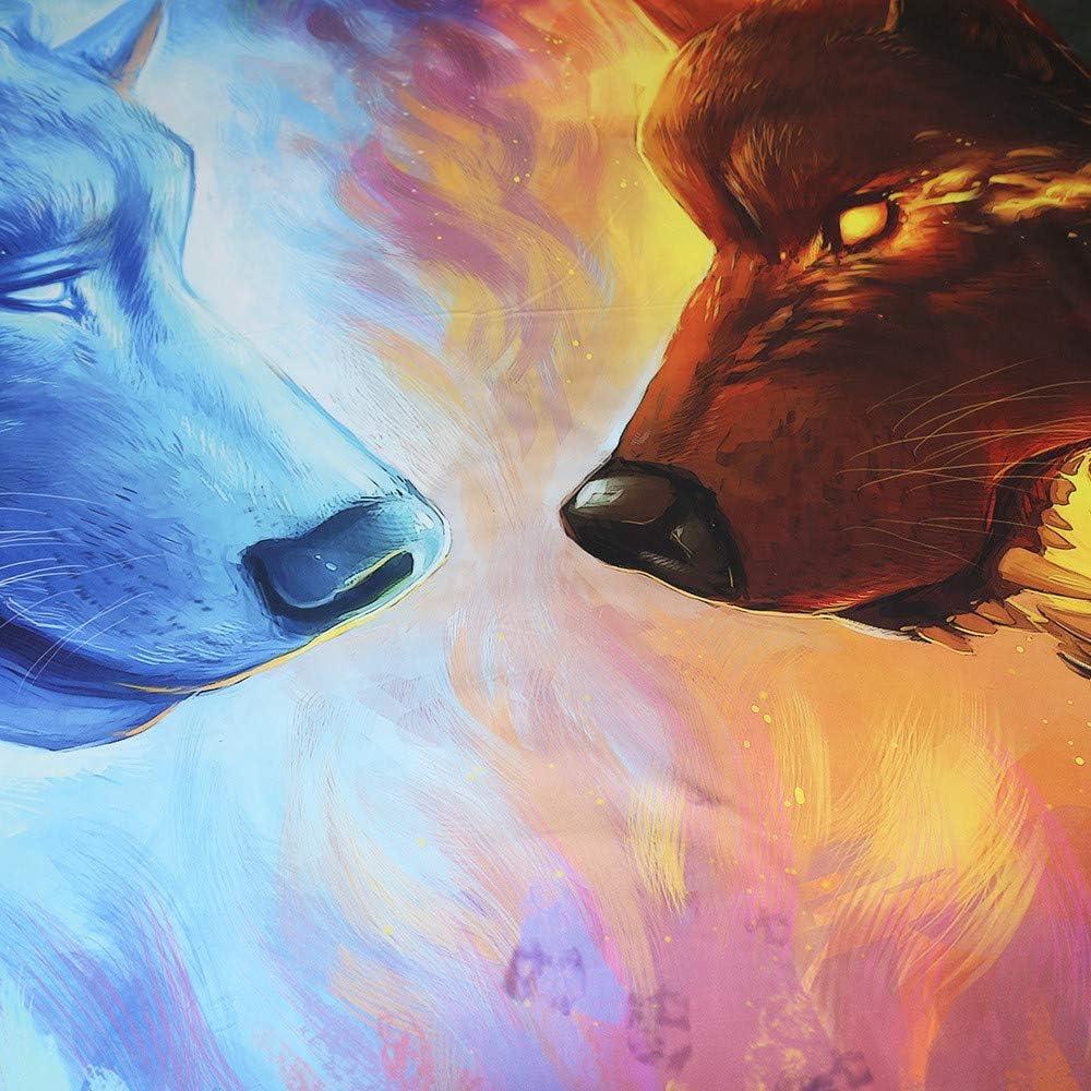 Canvas Ensemble de Literie 3D Loup Microfibre 3 pièces Hommes Jeunes Garçons Enfants 1 Housse de Couette et 2 Taies d'oreiller,UKKing Ukking