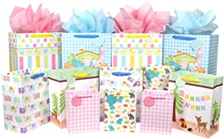 12 Pcs Baby Gift Bags, Large, Medium and Small Gift Bags Assortment for Baby Shower, Birthday, Parties, Baby Girl, and Bab...