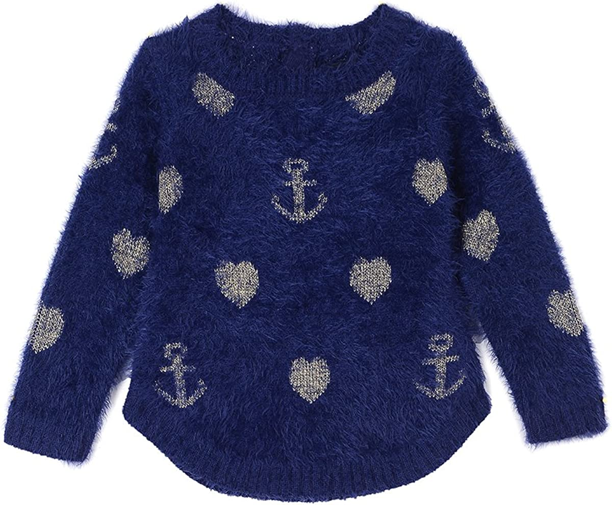 Nautica Girls Intarsia Sweater with Furry Yarns