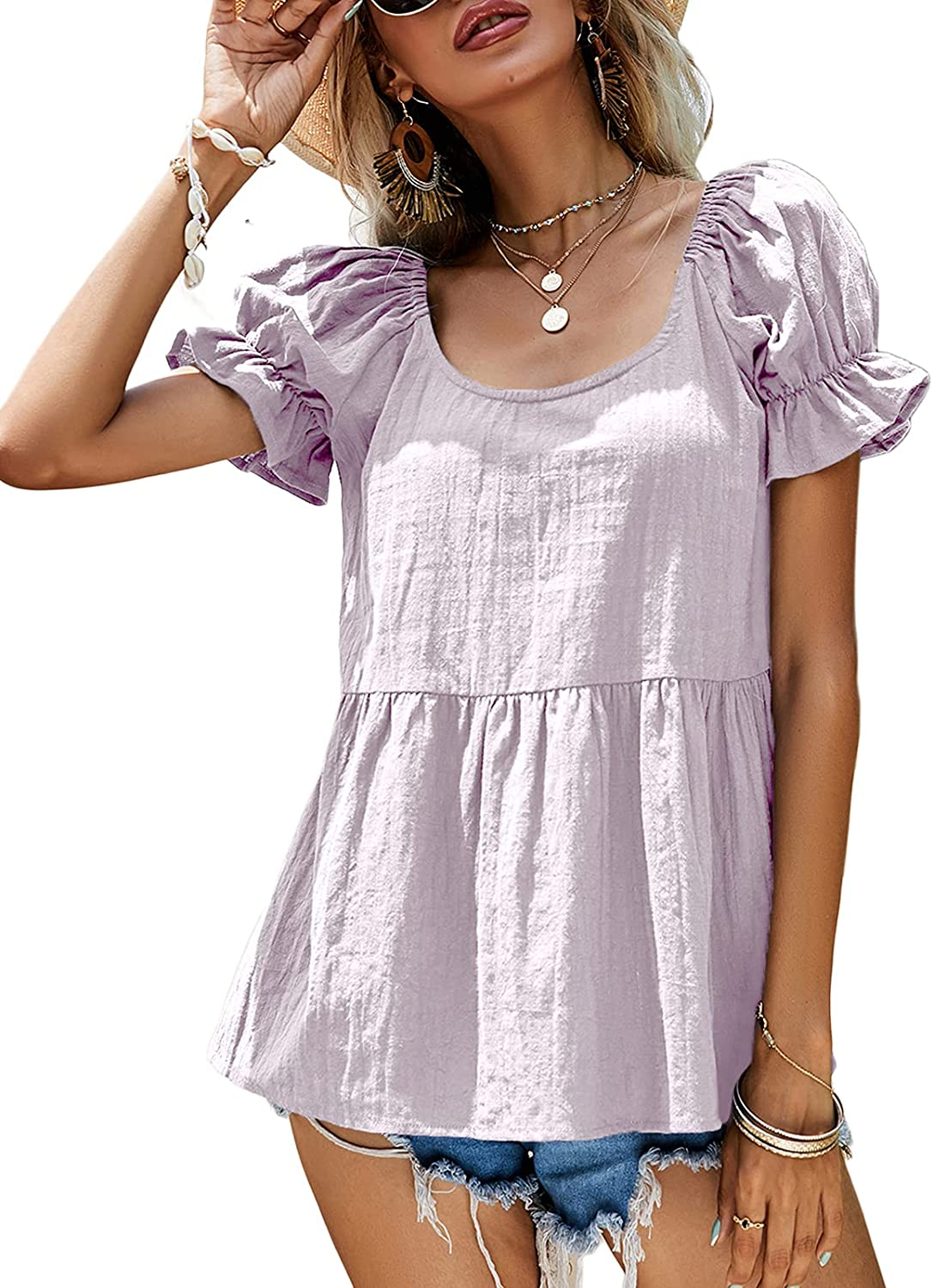 Womens Casual Puff Sleeve Babydoll Blouse Tops Scoop Neck Loose Solid Summer Peplum Tunic Tops