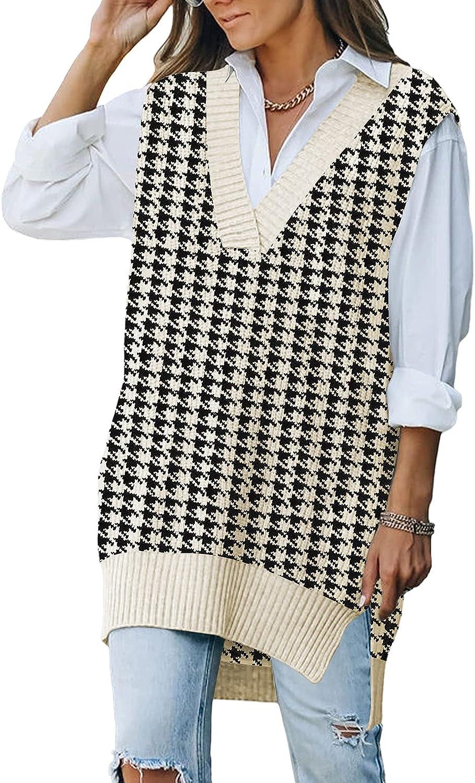 Linsery Women's Oversized Knit Sweater Vest V Neck Pullover Knitwear Tops
