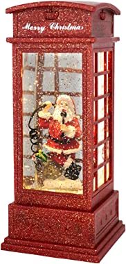 Wondise Telephone Booth Snow Globe Lantern Battery Operated and Timer, Christmas Snow Globe Lantern Spinning Water and Swirli