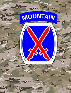 """10th Mountain Division 8.5"""" x 11"""" 200 page lined notebook"""