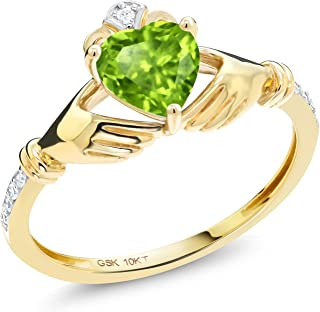 10K Yellow Gold Green Peridot and Diamond Accent Women's Irish Celtic Claddagh Ring (0.89 Cttw, Available in size 5, 6, 7, 8, 9)