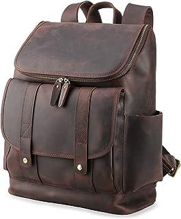 Texbo Vintage Full Grain Cowhide Leather 15.6 Inch Laptop Backpack Briefcase Shoulder Travel School Bag