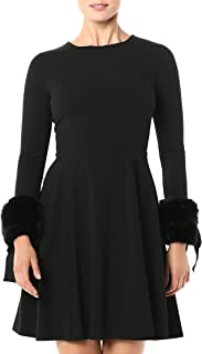 Calvin Klein Women's Long Sleeve Fit and Flare Dress with Faux Fur Trim