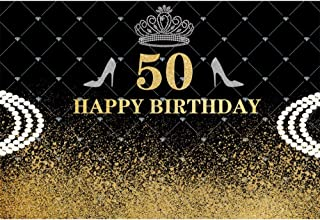 YongFoto 10x8ft Happy 50th Birthday Backdrop for Photography Crown Black and Gold Wall Background for Woman Party Banner Crystal Shoes Adult Lady Portrait Photobooth Studio Props Wallpaper
