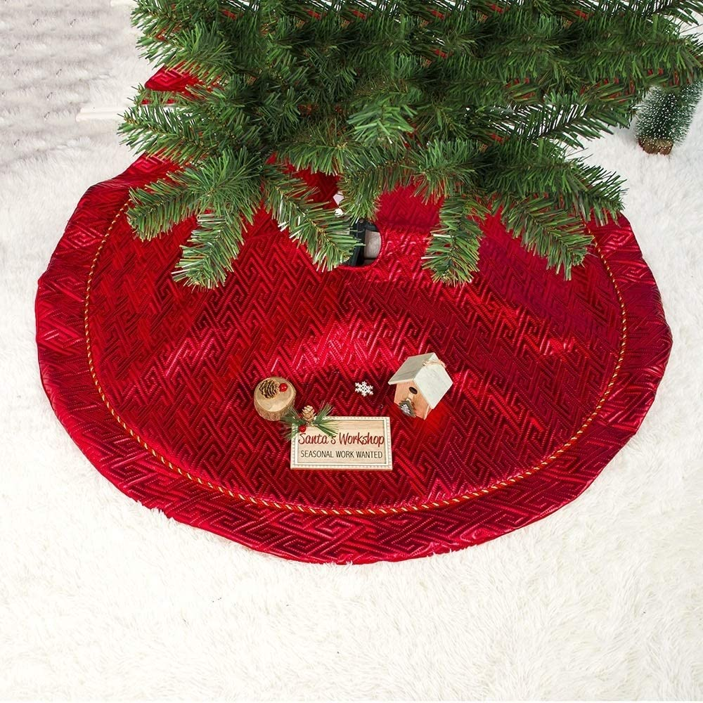 XGQ 2 PCS Kerstmis Double Plaid Velvet Kerstboom Bottom Ornament Kerstboom Rok (Pattern) (Color : Plaid Flannel) Pattern