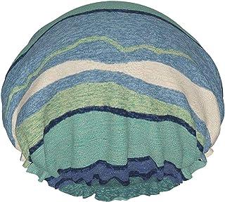 Czapka prysznicowa dla kobiet wodoodporna w paski fale jasny niebieski i zielony dwuwarstwowy kapelusz kąpielowy wielokrot...