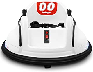 Kidzone DIY Race #00 6V Kids Toy Electric Ride On Bumper Car Vehicle Rechargeable Remote Control 360 Degree Spinning ASTM-Certified, White