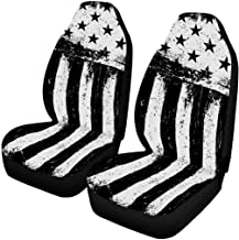INTERESTPRINT Stars and Stripes, Monochrome Negative Photocopy American Flag Background Universal Front Seat Covers Protectors for Car, Truck & SUV