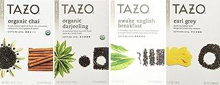 Tazo Black Tea 4 Flavor Variety Pack Sampler (Pack of 4, 80 Bags Total)