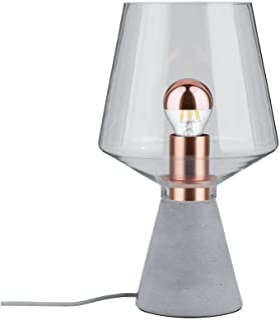 Paulmann 79665 Neordic Yorik máx. 1x20W, luminaria de sobremesa E27, lámpara para mesita de Noche Claro Cristal/hormigón/Metal, sin Fuente de luz, Transparente, Gris, Cobre