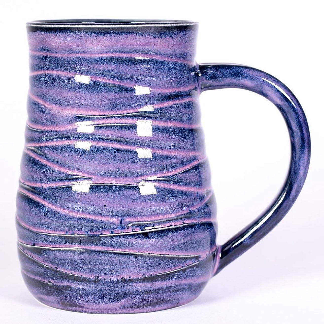 Pink and Purple Wave Handmade Pottery mug