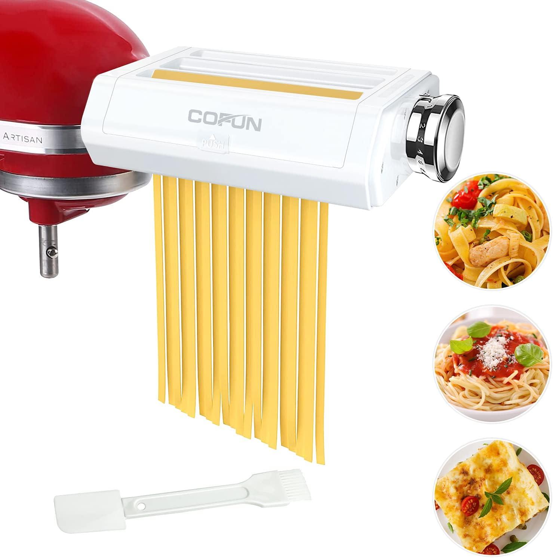 Pasta Maker Attachment for Kitchenaid Stand Mixer, Cofun 3 in 1 Pasta Machine Asseccories, Included Pasta Roller, Spaghetti Cutter, Fettuccine Cutter, Multifunctional Pasta Attachment for Kitchenaid